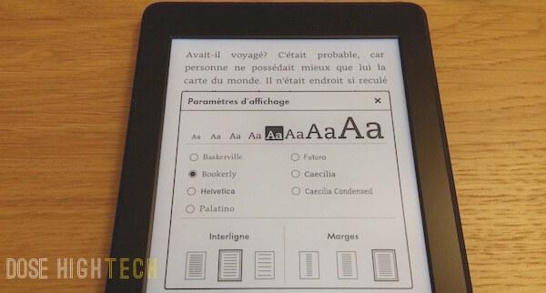Paramètres d'affichage Kindle Paperwhite 2013