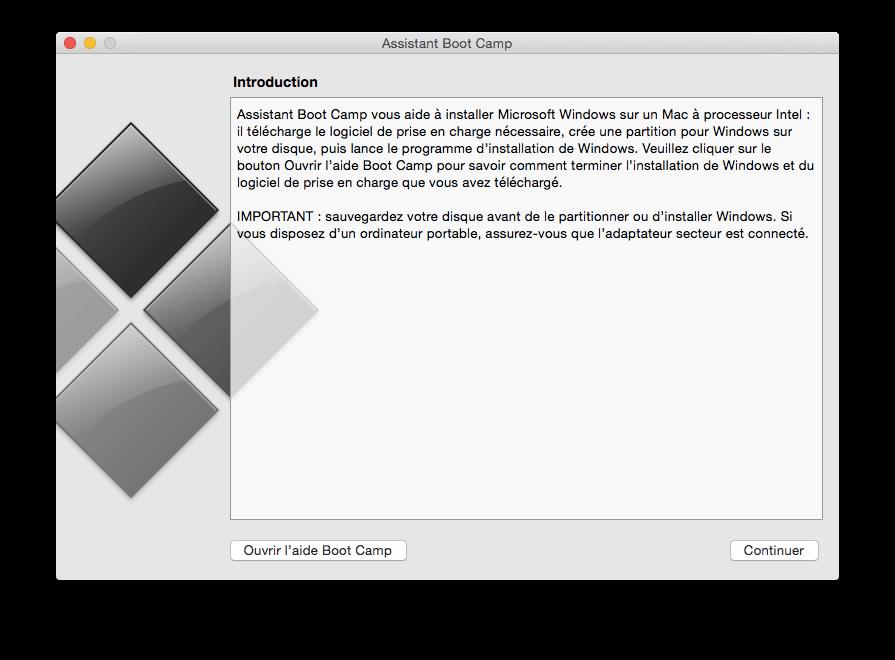 Logiciel Boot Camp Mac